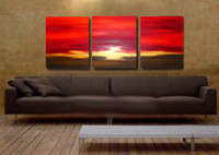 Wholesale Contemporary Oil Paintings For Sale Beautiful Landscape Red Sunset Large Size No Frame Art Home Top Decoration High Quality High Valued