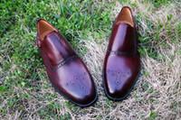 Wholesale Men Dress shoes Oxfords shoes Monk shoes Men s Shoes Custom handmade shoes Genuine calf leather Color burgundy HD