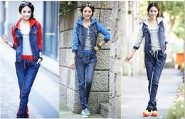 Wholesale Woman Girls Sports Set Denim Jeans Jacket Sport Cothing Set Women Sports Wear Colors Sport Suit