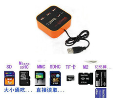 Wholesale Multi Cards All In One COMBO Ports USB Hub Card Reader Adapter for SD NMC M2 Micro SD MS