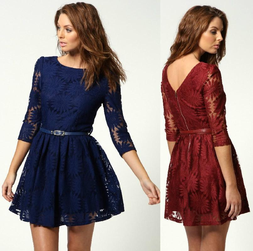 Discount Price!! Fashion Lace Sunflower Women Party Dress With ...
