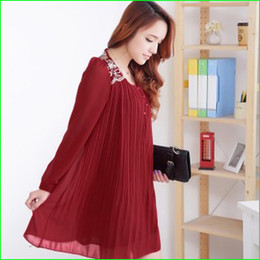 Wholesale 092405 elegant maternity dresses autumn long sleeve chiffon pregnant dress summer lace back maternity clothing black red maternity tops