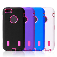 Leather For Apple iPhone  3 in 1 Robot Hybrid Silicone+PC Soft Stand Support Holder Hard Back Cover Case Shell For iphone 5C Without Package Free Shipping