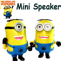 Wholesale DHL Cute DESPICABLE ME Portable Mini Speaker Micro SD TF Card USB Speakers FM Radio MP3 Player Amplifier table PC Louderspeaker Christmas