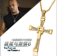 Wholesale Fast and Furious movie with paragraph Cross Pendant Necklace K gold plated rhinestone crystal jewelry