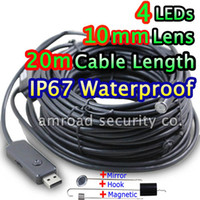 Wholesale 20M FT Cable Length mm Lens Waterproof USB Snake Inspection Camera Endoscope Borescope w Mirror Hook Magnetic AT EN1020
