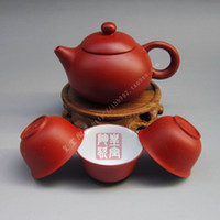 Wholesale Elegant Chinese Ceramic cups Yixing purple clay tea set set kung fu tea teapot cup teapot Freeshipping