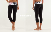 Wholesale lululemon wunder under crop shorts yoga pants Course Pantacourt Inspire women elastic trousers black with line