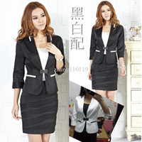 Women Dress Suit Corduroy 2013 Summer ladies career skirt suits for women ( skirt & coat ) slim business sets work black free shipping