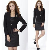 Women Dress Suit Corduroy Free Shipping ladies dress suits for women career sets fashion formal slim work wear ol business sets black