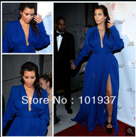 A-Line Sexy Ruffle Sexy Deep V-Neck Red Carpet Evening Dress Royal Blue Front Slits Kim Kardashian Celebrity Dress With Long Sleeve
