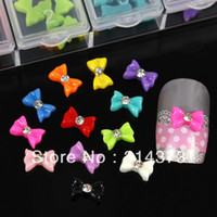Wholesale NEW Box with X8mm Clear Rhinestones Flatback Ruffle Bow Tie Bowknot Resin D DIY Design Nail Art Cell Phone Decorations