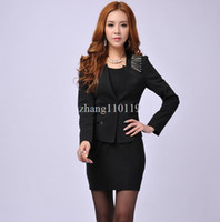 Women Dress Suit Corduroy New 2013 Fall Fashion Women Blazer Sets for Ladies Business Suits Black Formal Professional Suits Work Wear Winter Jackets