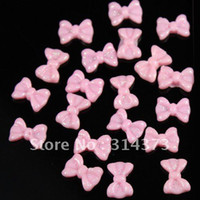 Black Round Rhinestone & Decoration 100pcs Lot 3D Baby Pink Bowknot Bow Tie Flatback Resin Glitter Acrylic Nail Art UV Gel Tips Craft DIY Design Decoration