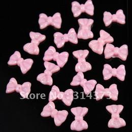 Wholesale 100pcs D Baby Pink Bowknot Bow Tie Flatback Resin Glitter Acrylic Nail Art UV Gel Tips Craft DIY Design Decoration