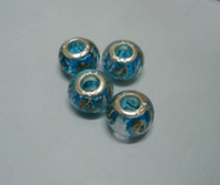 Wholesale Sales Sky Blue Color Gold Silver Foil Glass Large Hole Beads Fit Beaded Bracelet