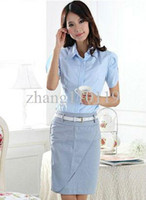 Skirt Suits Sashes Regular 2013 Fashion Formal Women Skirt Suit Summer Work Wear for Office Ladies Business Career Short Sleeve With Belt Free Shipping