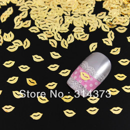 Wholesale 1000PCS x6mm Sexy Lip Shape D Metal Golden Slice Alloy Nail Art Salon Acrylic Tips Cellphone Craft Case Design Decoration