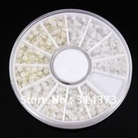 Round acrylic nails black tips - 10pcs Flatback Pearl Bead Mix Size Ivory White Acrylic UV Gel Tips Nail Art Salon Craft Cellphone Design Decoration Wheel