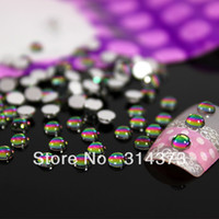 Wholesale 1 Pack MM Rainbow Color Half Round Acrylic Rhinestones Beads D Nail Art Salon VU Gel Tips Cellphone Laptop Cover Decorations