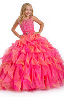 Wholesale Hot pink spaghetti crystal sash zippered ruffles sweep train party dancing evening ball gowns flowers girls pageant dresses perfect angels