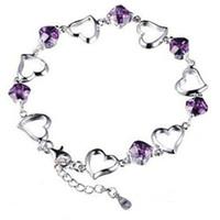Bohemian heart model - 925 silver jewelry bracelet heart shaped amethyst bracelet genuine network hot models