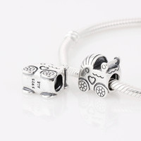 Silver Hearts, Love Chirstmas Authentic 925 ALE Sterling Silver Baby Carriage Charm Fits European Pandora Bead Bracelets