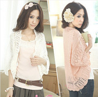 Wholesale Fashion Woman Hollow Thin Cardigan Sweater Loose Bat Sleeve Blouse Small Shawl