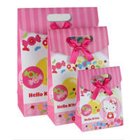 Birthday Cartoon Cat Gift Bag 12.4*16.3*6 cm 12.4*16.3*6cm Cartoon Cat Gift Bag Recycled Paper Bag with Handles Festive Gifts 50pcs lot WS036