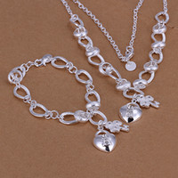 Wholesale Dazzling Fashion Silver Jewelry Fashion Diamond Heart Key Pendant Necklace Bracelet Jewelry Set Wedding Jewelry