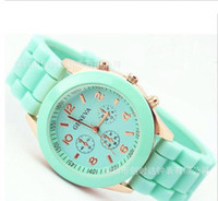 Wholesale Geneva Women Quartz Dress Watch Military men Silicone Unisex Wristwatch Jelly watch