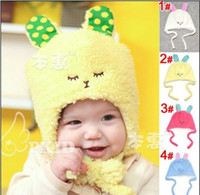 Wholesale Fashion Baby girl boy children s soft plush fur caps hats kids cartoon rabbit winter warm earmuffs cap hat outwear colorful cotton