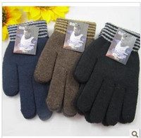 Wholesale Ms han edition winter fashion male warm stripe gloves wool and wool gloves
