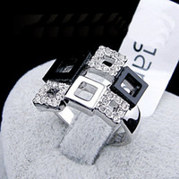 Wholesale OL black and white check Square ring Simulated diamond k gold plated finger rings fashion women wedding gold filled jewelry