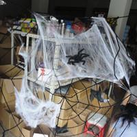 halloween cobweb - Creepy Halloween Square bar scene props accessories spider cobweb spider silk cotton belt spider g