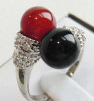 Wholesale cheap Beautiful Black red Jade Woman s Ring Size