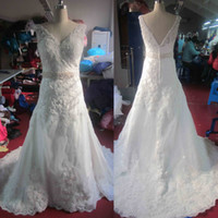 Wholesale Custom Made Real Picture Appliques Beading V Neck A Line Bridal Dress Prom Dresses Wedding Dress Get Crown three piece suit for free