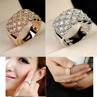 Wholesale OL Simulated diamond ring k gold plated finger rings fashion beautiful women gold filled jewelry