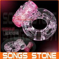 Wholesale Pink Vibrating Penis Sleeve Penis Ring Cock Ring Adult toys