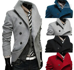 Wholesale New Arrival Christma casual Oblique placket Men s coat Slim men s jacket men s wool coat Single breasted Large lapel mens outwear
