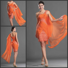 Free Shipping Orange Cocktail Dress One Shoulder Beaded Short Lace Dresses with Flowing Chiffon Ribbon Cheap High Quality