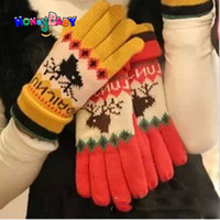Wholesale Winter New Women Five Fingers Gloves Deer Pattern Couples Gloves Double Layer Warm Gloves Unisex Fashion Gloves QG0917