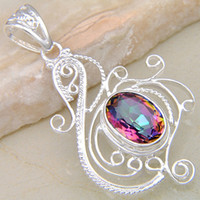 Wholesale Saint Valentine s Day Gift Acessories For Jewelry Mystic Topaz Silver Pendant P0463