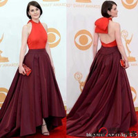 Reference Images Emmy Awards Halter 65th Ammy Awards Michelle Dockery Celebrity Dress Bodice Party Celibrity Dress Halter Neckline Floor Length Elastic Satin A Line Zipper 2013