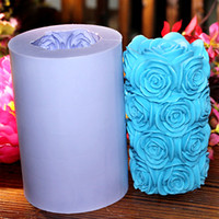 Wholesale LZ0089 handmade silicone candle mould rose flower DIY candle craft moulds big size