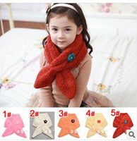 Wholesale Children s Scarf Fur Scarf Baby girl fur flower scarf Winter warmer scarf scarves