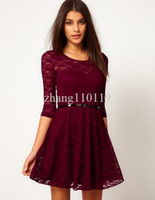 Sheath Mini Strapless 2013 NEW Spring Clothing Excellent Quality European Style Half Sleeve Lace Women Lady Dress With Belt Dress