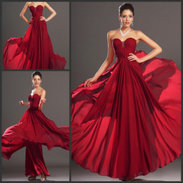 Red Long Chiffon Bridesmaid Dress Sweetheart Beaded Prom Dresses Sleeveless Long Formal Wedding Guest Party Gowns Maid of Honor Dresses