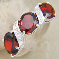 Wholesale Christmas Day For Mother GIFT Antique Silver amp AAA Fire Red Garnet Charms Rings CR0006
