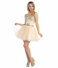 Wholesale Beautiful Sweetheart Corset Bodice Sheer Homecoming Dresses Cheap Prom Party Gown Organza Rhinestone Short Mini Graduation Dresses Lace Up
